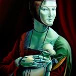 """""""moteris su šermonėliu"""" pagal Leonardą... 55x70 cm drobė, aliejus 2013 m."""